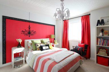 Красный и серый в спальне