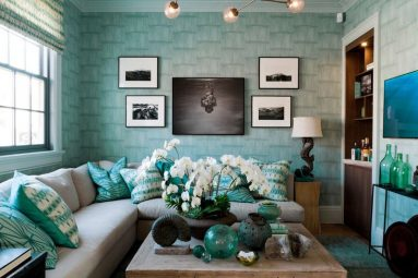 Дизайн гостиной в бирюзовом