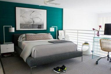 Серый и бирюзовый цвет в спальне