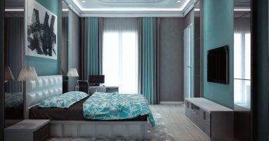 Сочетания серого и бирюзового цвета в спальне