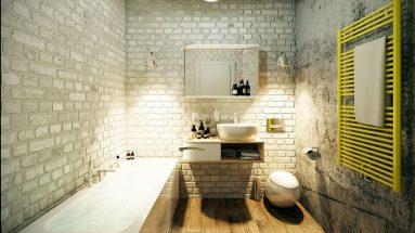 Белая кирпичная стена в ванной