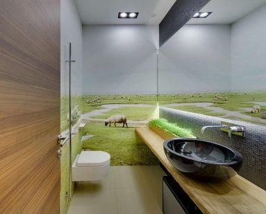 Дизайн туалета с фотообоями