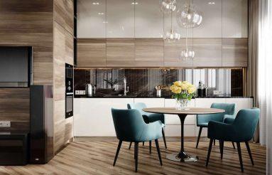 голубой стул и фартук в современной кухне