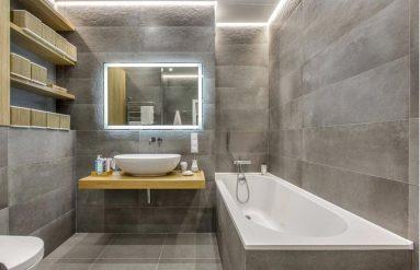 Сочетание серого цвета с другими в интерьере ванной