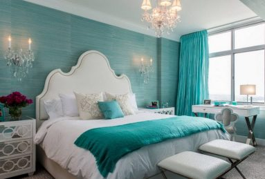 Дизайн спальни в бирюзовом