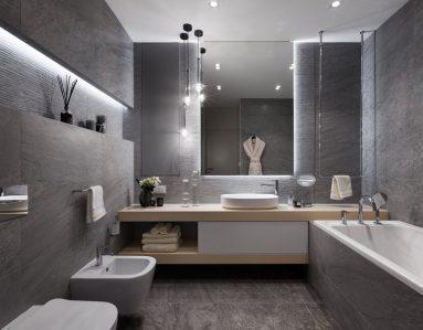 Сочетание серого в ванной