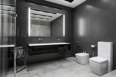 С чем сочетается серый цвет в ванной