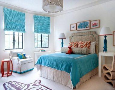 Интерьер спальни в бирюзовом