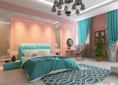 спальня в бирюзовом