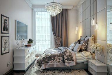 Дизайн спальни в нежных тонах