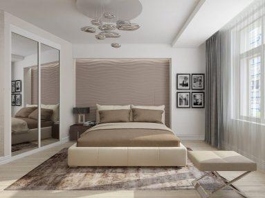 Интерьер спальни со светлым полом
