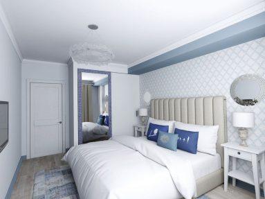 Дизайн спальни в светлых тонах с яркими акцентами