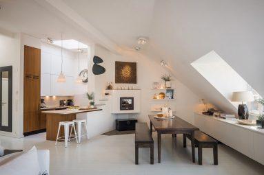 Кухня в интерьере мансарды