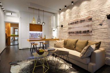 лофт в дизайне однокомнатной квартиры 40 м