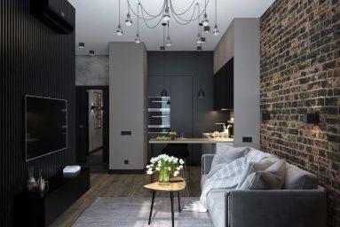 Стиль лофт в дизайне квартиры студии 40 кв м