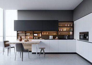 черно-белый интерьер в стиле минимализм
