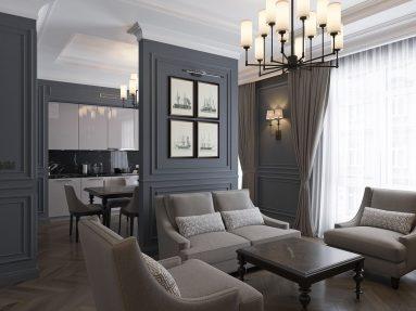 Современный дизайн однокомнатной квартиры 40 кв м в стиле неоклассика