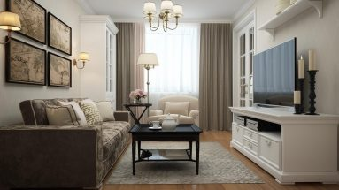 Дизайн однокомнатной квартиры 40 кв в стиле неоклассика