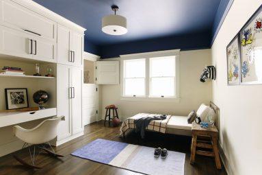 Краска на потолке в дизайне 1 комнатной