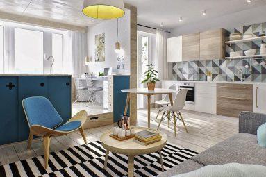 Дизайн интерьера однокомнатной квартиры 40 кв м в скандинавском