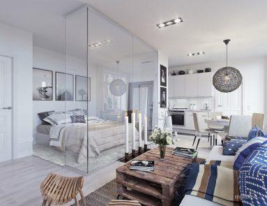 Идеи дизайна однокомнатной квартиры 40 кв м в скандинавском