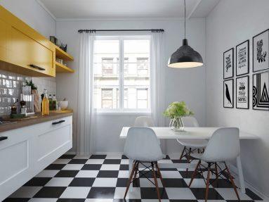 Скандинавский стиль в маленькой кухне
