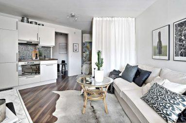Скандинавский в дизайне однокомнатной квартиры 40 кв м