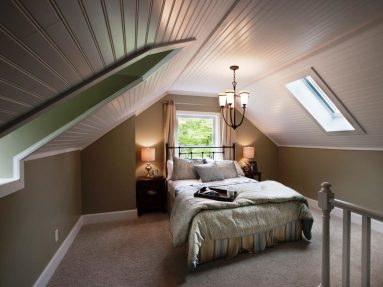 Оформление спальни в дизайне мансарды