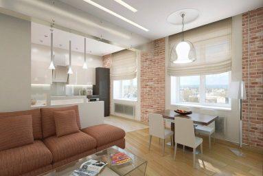 Квартира-студия с кирпичной стеной