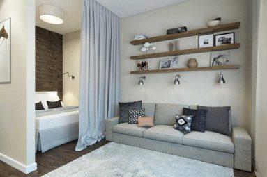 Спальня-гостиная в квартире студии