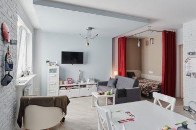 современный дизайн однокомнатной квартиры студии 40 кв м