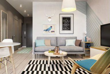 Серый диван в интерьере квартиры студии 40 кв. м