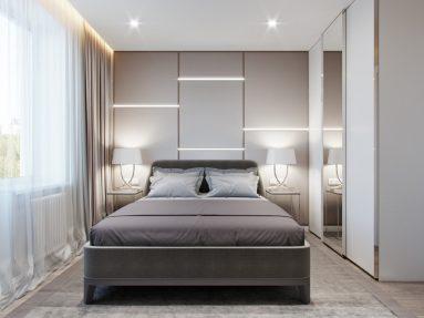 Освещение в светлой спальне