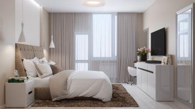 Белый пол в спальне в светлых тонах