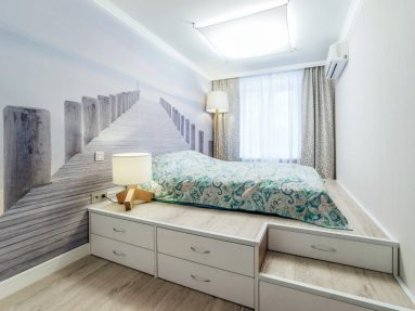 Подиум для зонирования в дизайне квартиры